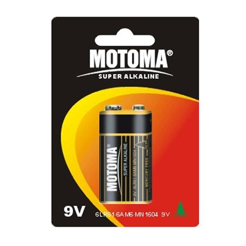 Motoma LR 9V 1B alkaline 12шт. Батареки, Зарядные устройста MOTOMA
